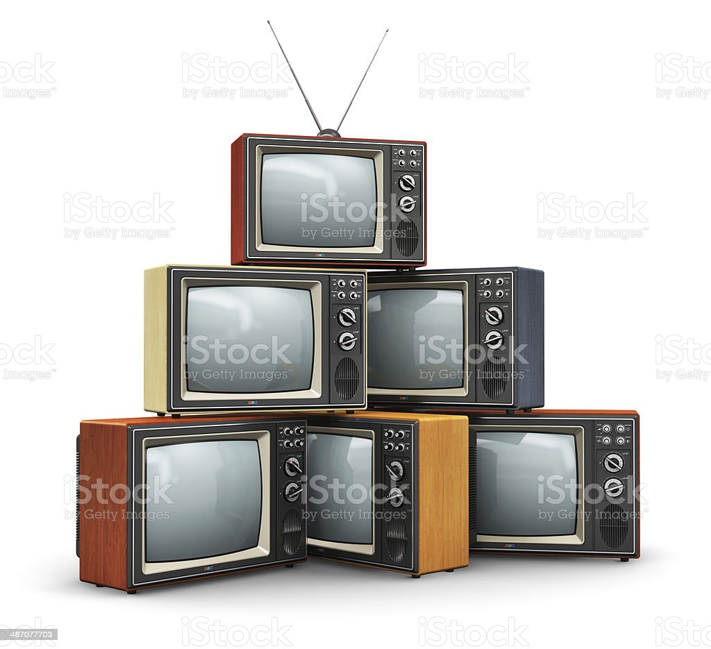 Stack of old TV stock photo