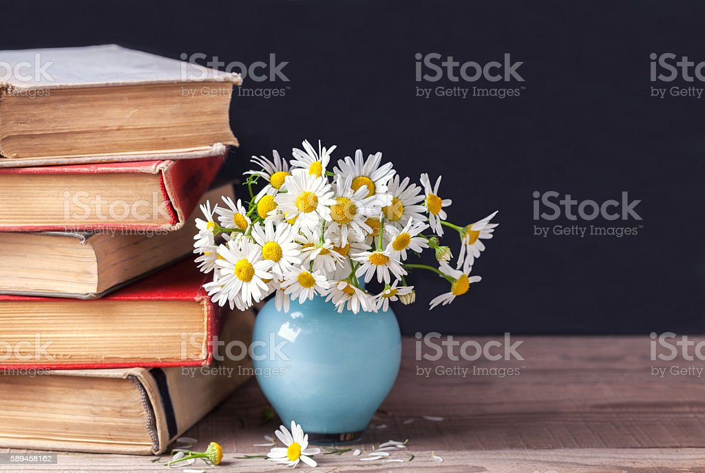 stack of old vintage books lying on wooden shelf. stock photo