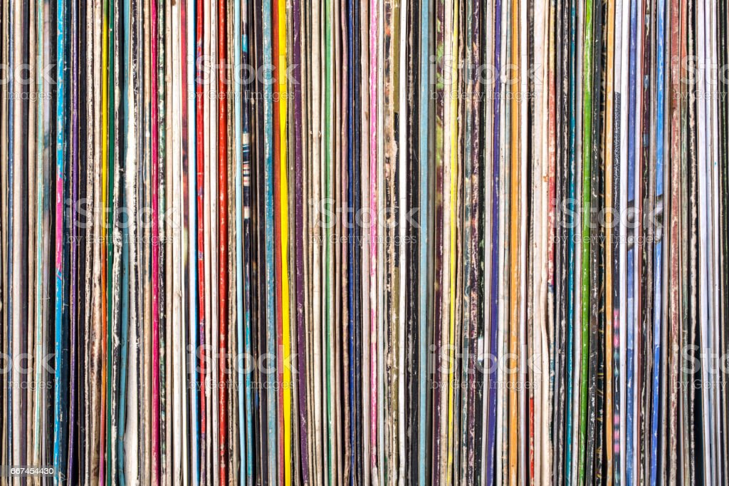 Stack of old vinyl records. stock photo