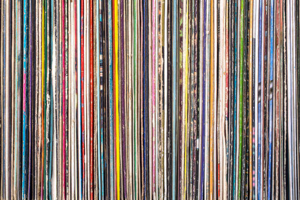 stack of old vinyl records. - records stock photos and pictures