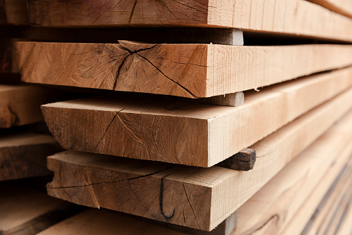 Stack of Old Wooden Railway Sleepers Background Pattern