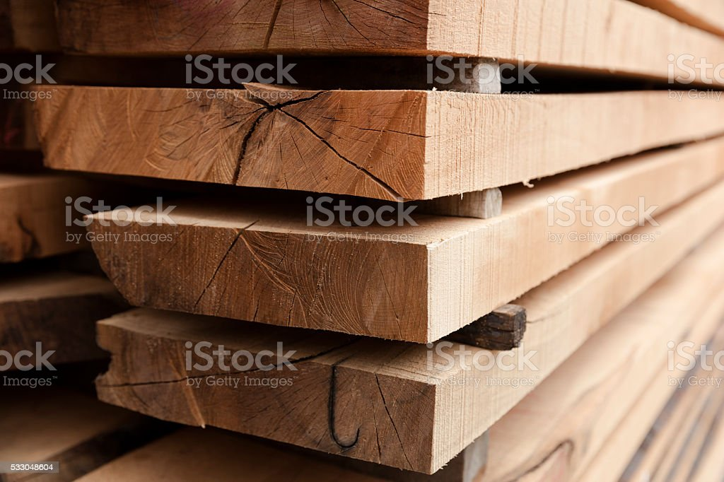 Stack of Old Wooden Railway Sleepers Background Pattern stock photo