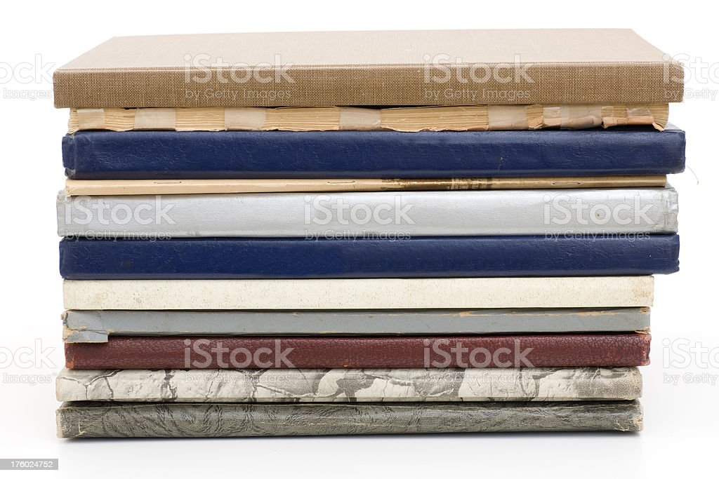 stack of old year books royalty-free stock photo