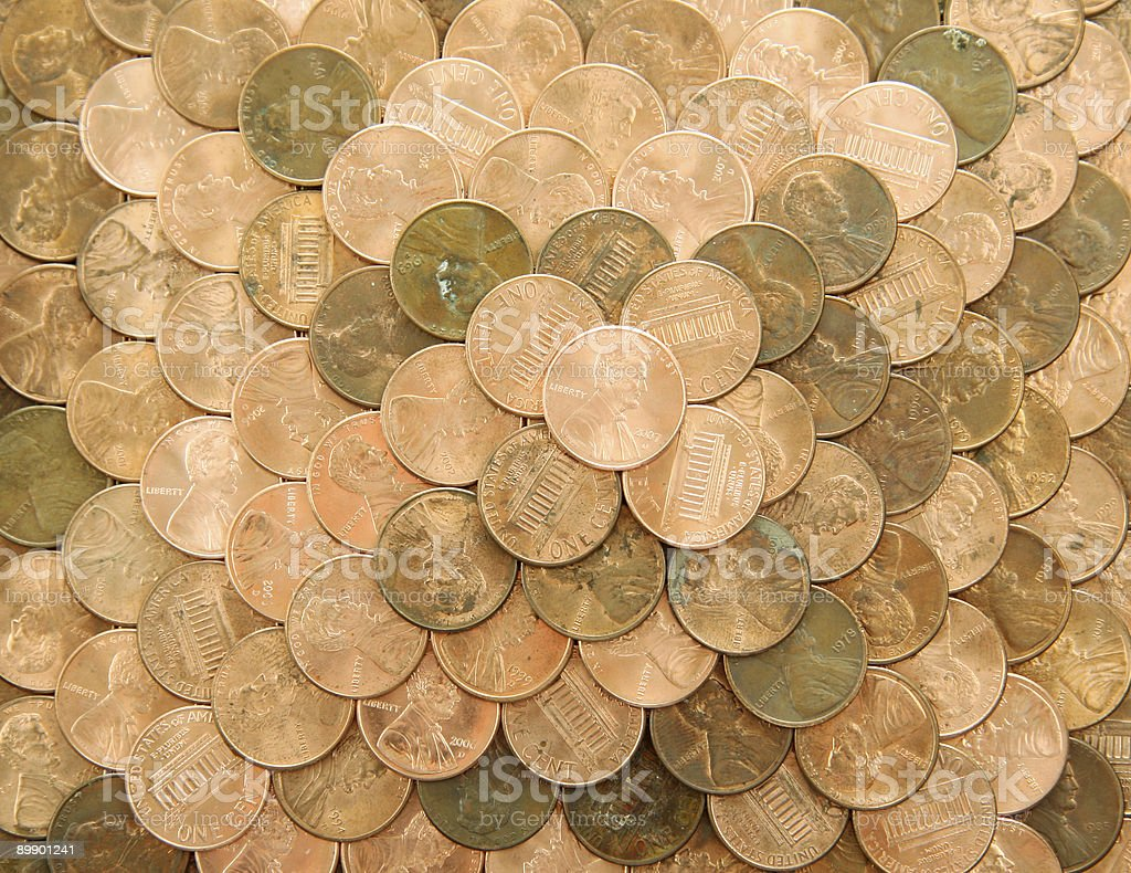 Stack of old/new Pennies royalty-free stock photo