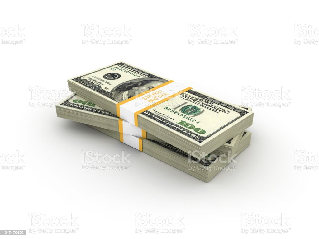 Stack of One Hundred Dollar Bills - 3D Rendering stock photo