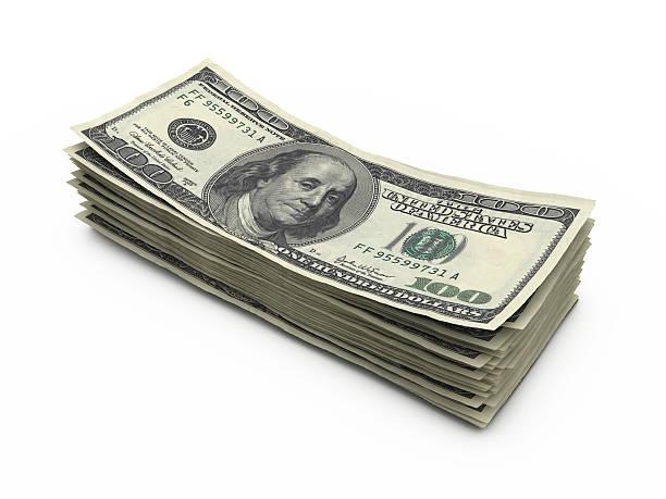 Stapel von Hundert-dollar-Noten in der Hand – Foto