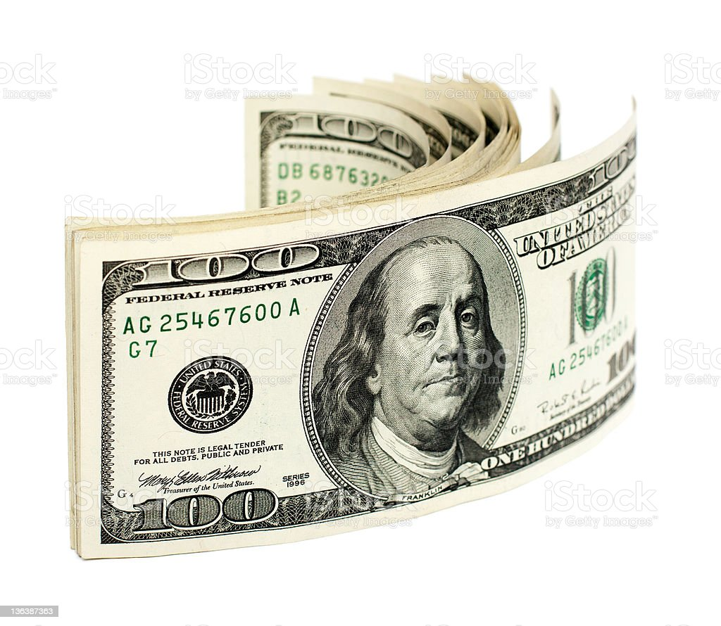 stack of one hundred dollar bills U.S. isolated on white royalty-free stock photo