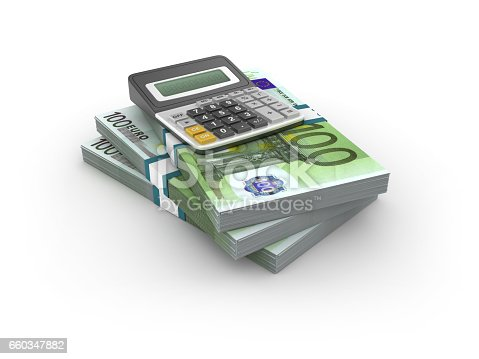 istock Stack of One Hundred Euro Bills with Calculator - 3D Rendering 660347882
