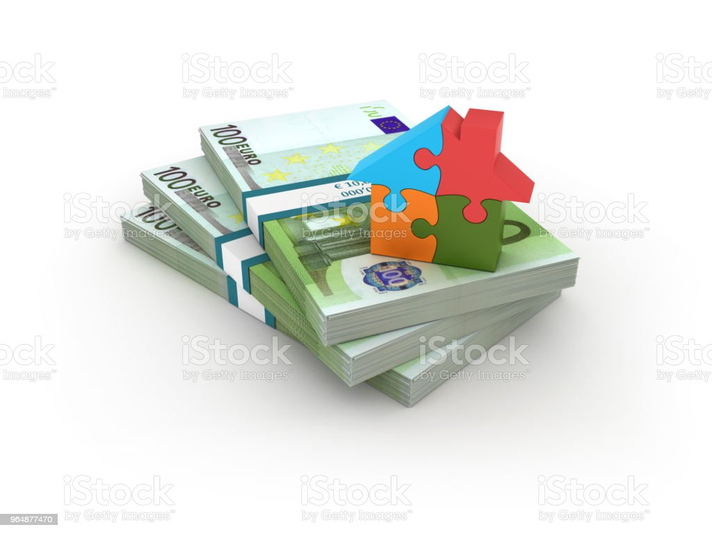 Stack of One Hundred Euro Bills with House Puzzle - 3D Rendering royalty-free stock photo