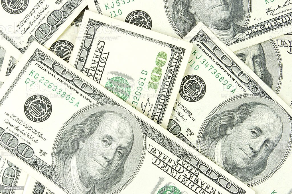 Stack of One Hundred US Dollar Bill royalty-free stock photo
