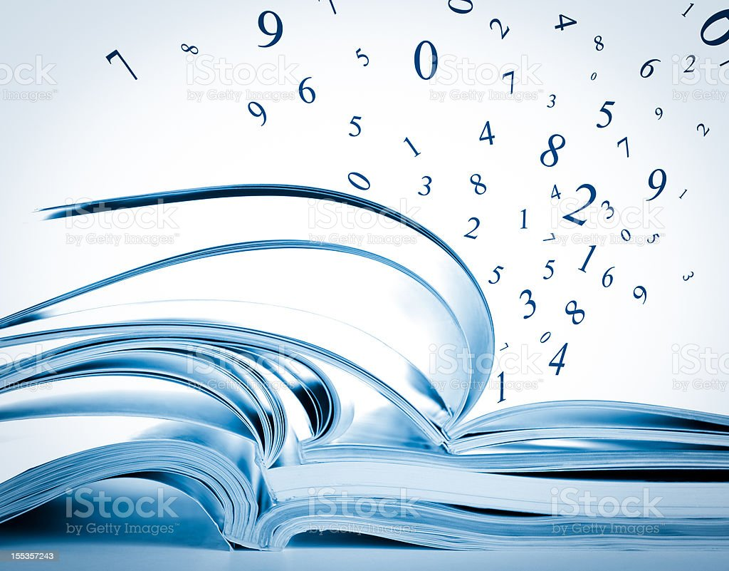 Stack of opened books, magazines, exercise notebooks with flying numbers stock photo