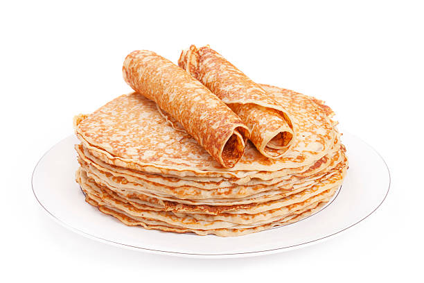 Stack of pancakes on a plate, white background stock photo