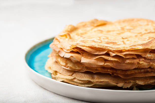 Stack of pancakes traditional for pancake week stock photo