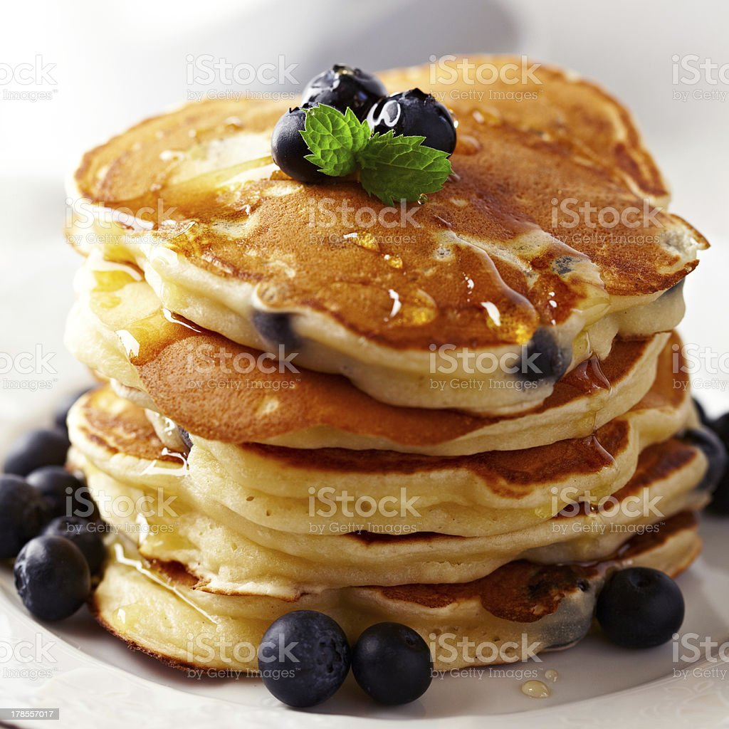 Stack of pancakes with fresh blueberry stock photo