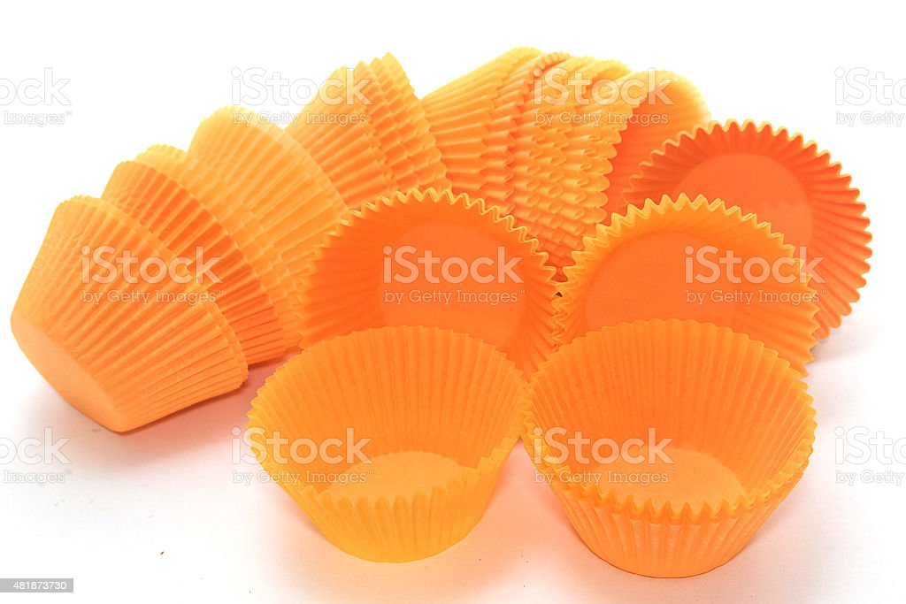 stack of paper cup cakes stock photo