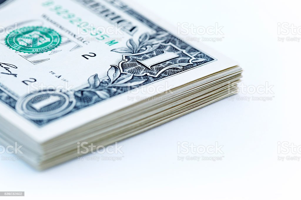 Stack of paper dollar bills royalty-free stock photo