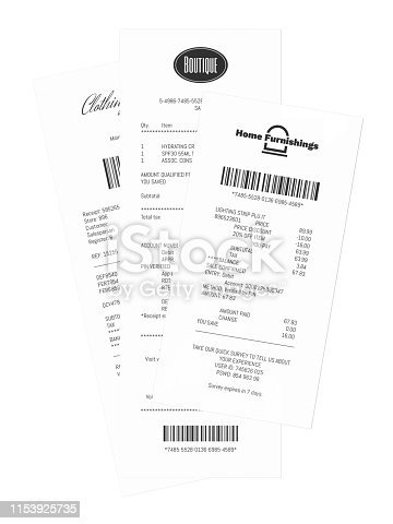 Stack of printed shopping receipts laying on a table, fictitious