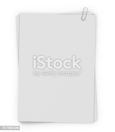 istock Stack of paper stamped paper clip, isolated on white background. 517992436
