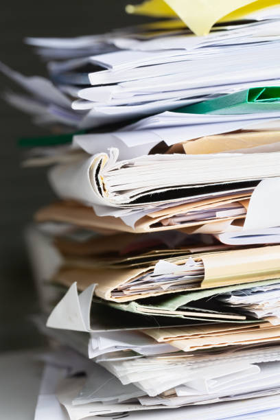Stack of papers, documents and files stock photo