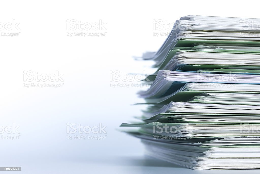Stack of papers paperwork. stock photo