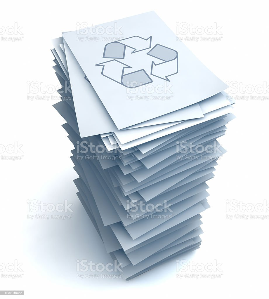 Stack of papers with Recycle symbol stock photo