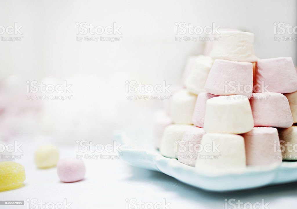 Stack of pastel colored marshmallows royalty-free stock photo