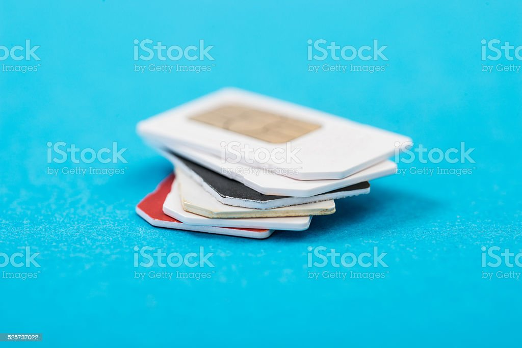 Stack Of Phone Sim Card stock photo