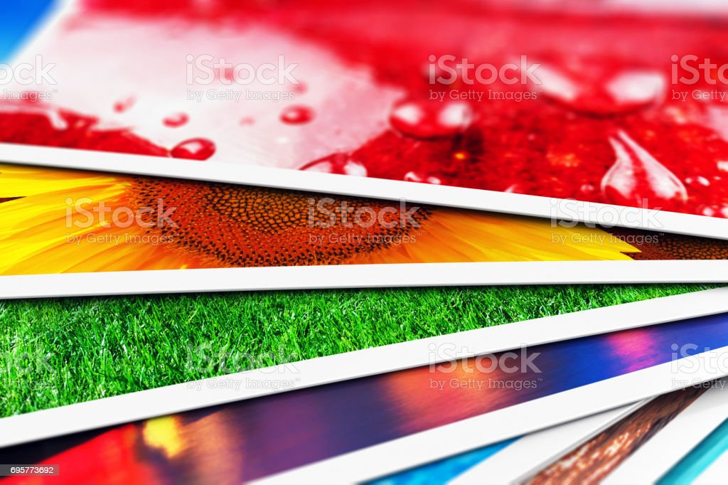 Stack of photo cards stock photo