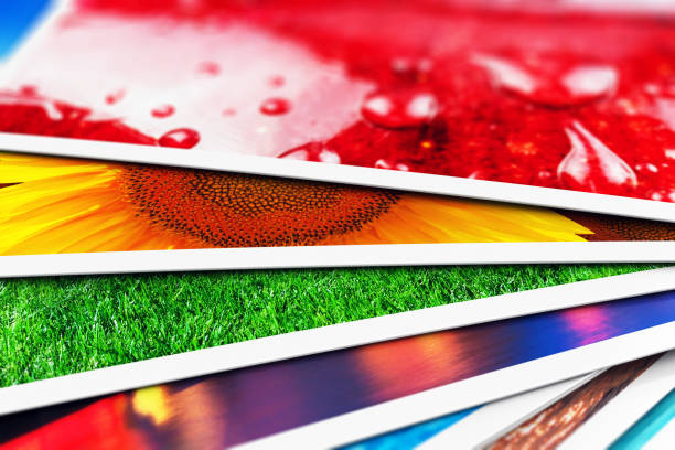 stack of photo cards - print stock photos and pictures