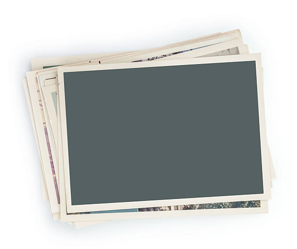Stack of photos isolated stock photo