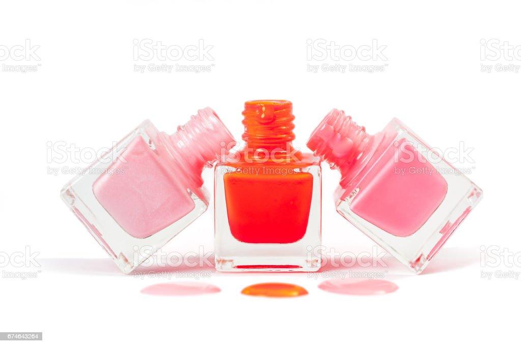 Stack Of Pink Nail Polish Isolated On White Background Stock Photo ...