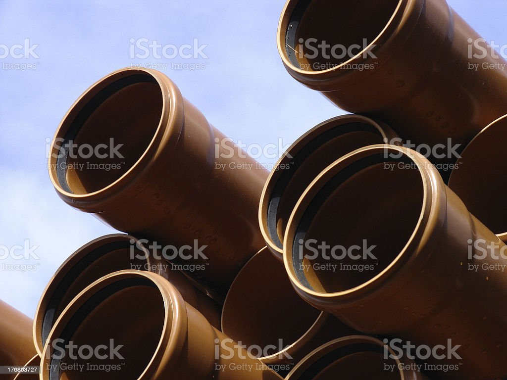 Stack of pipes stock photo