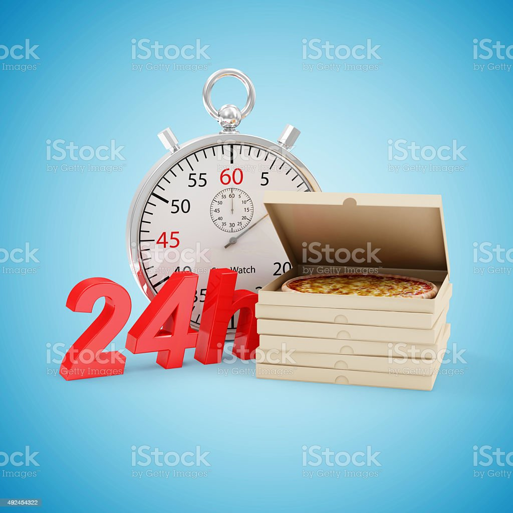Stack of Pizza Boxes with Stopwatch and 24h Symbol stock photo
