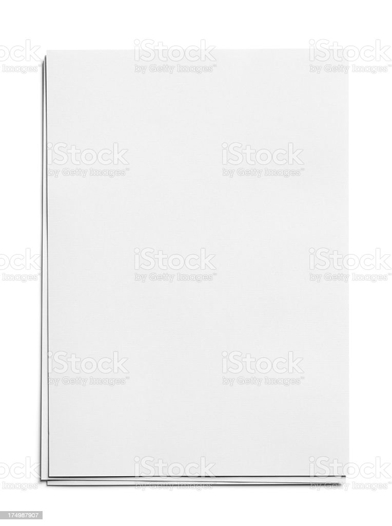 Stack Of Plain White Paper On White Background Stock Photo