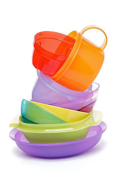 Stack of Plastic Bowls stock photo