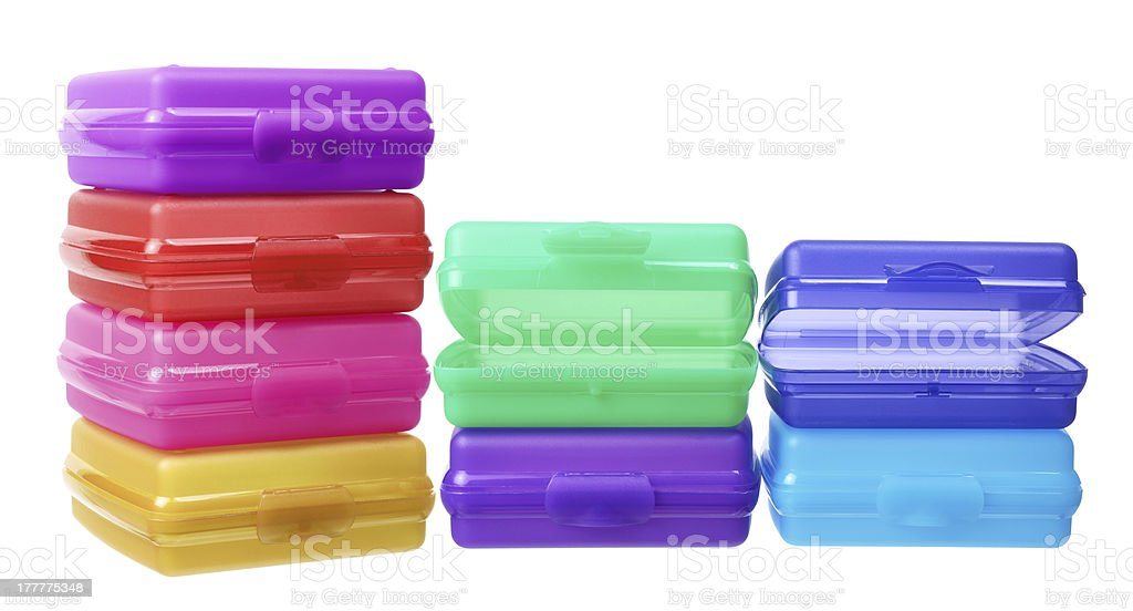 Stack of Plastic Containers royalty-free stock photo