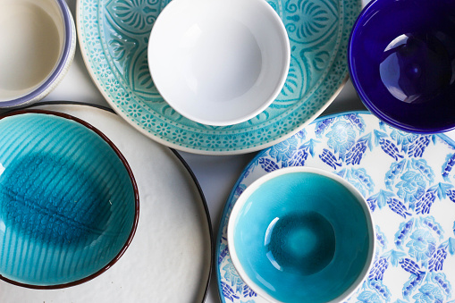 Plates and bowls background.