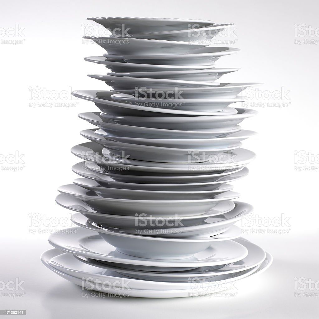 Stack of plates stock photo