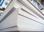 Stack of polystyrene foam sheets