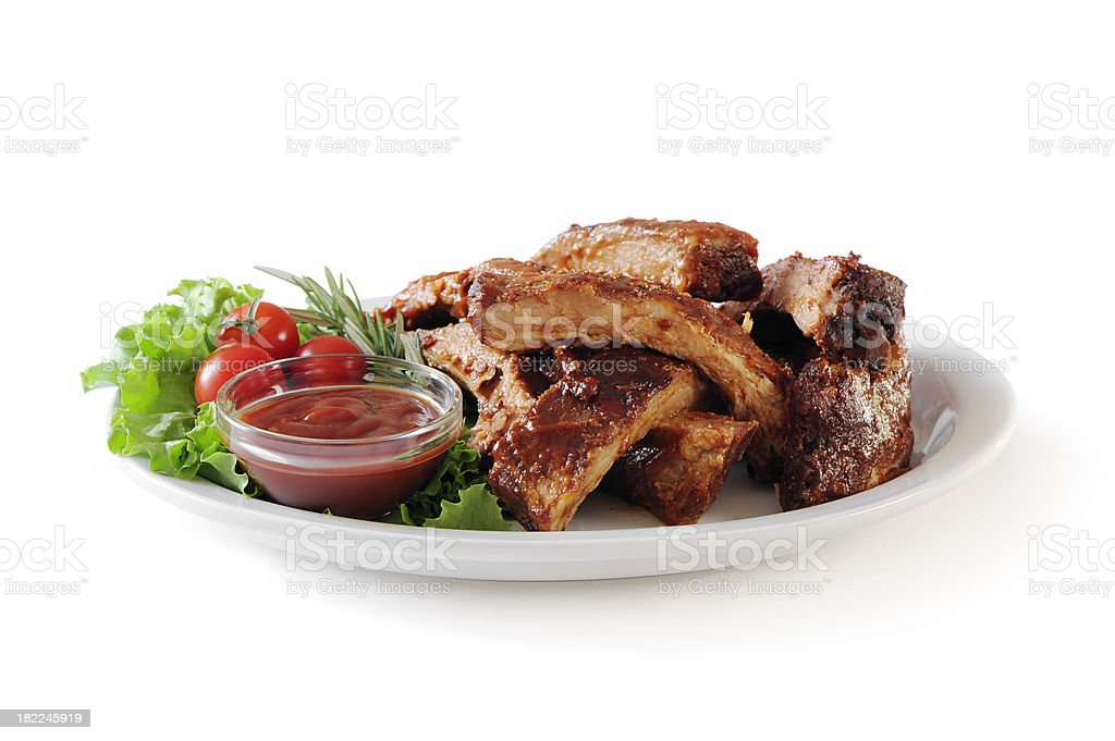 Stack of pork ribs stock photo