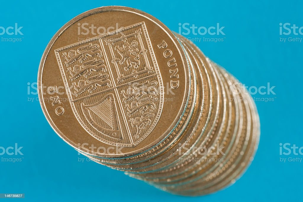 Stack of pound coins royalty-free stock photo