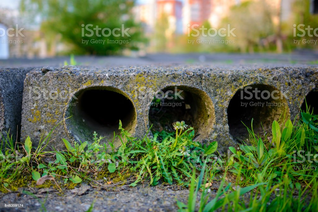 Stack of precast reinforced concrete stock photo