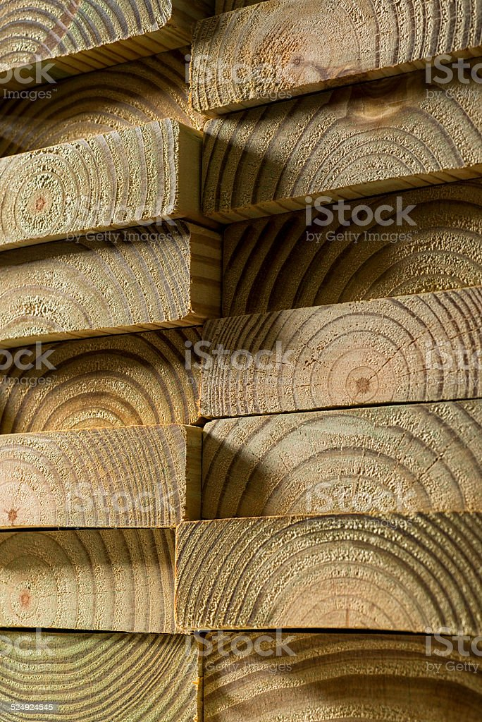 Stack of Pressure Treated 2x6 Wood stock photo
