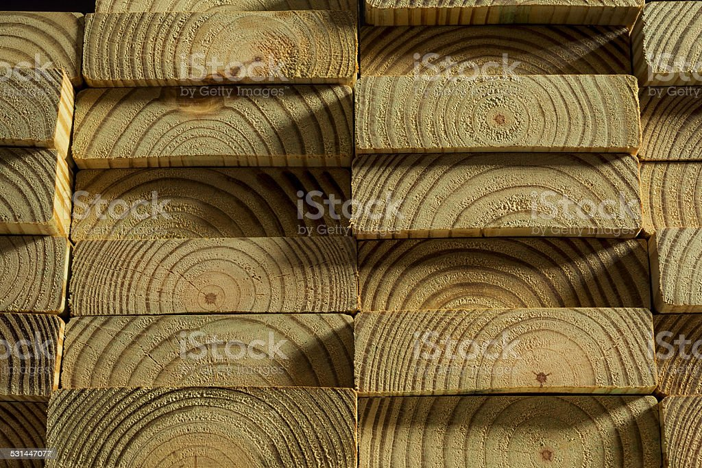 Stack of Pressure Treated Lumber stock photo