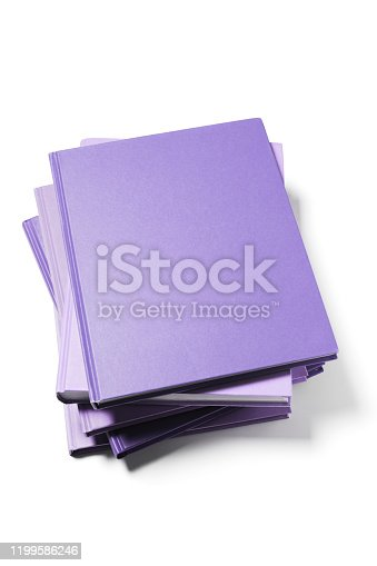 Stack of Purple Color Blank Cover Books on White Background.