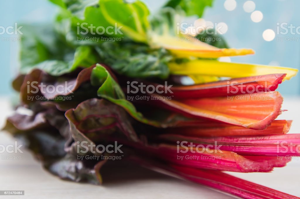 Stack of Rainbow Chard Fills Frame stock photo