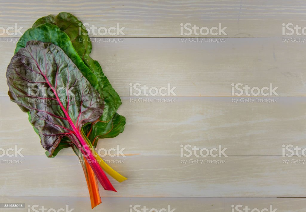 Stack of Rainbow Chard with Copy Space to Right stock photo