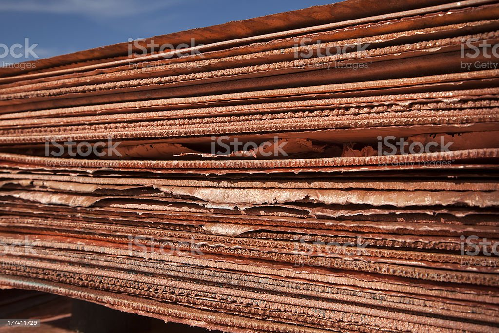 Stack of Raw Copper Sheets stock photo