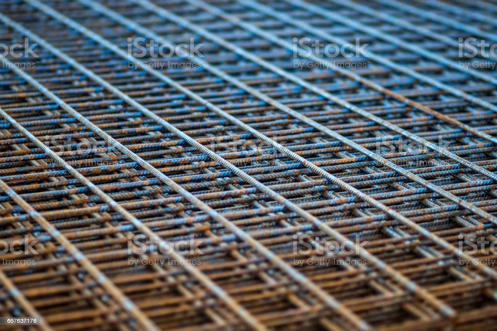 Stack of rebar grids stock photo