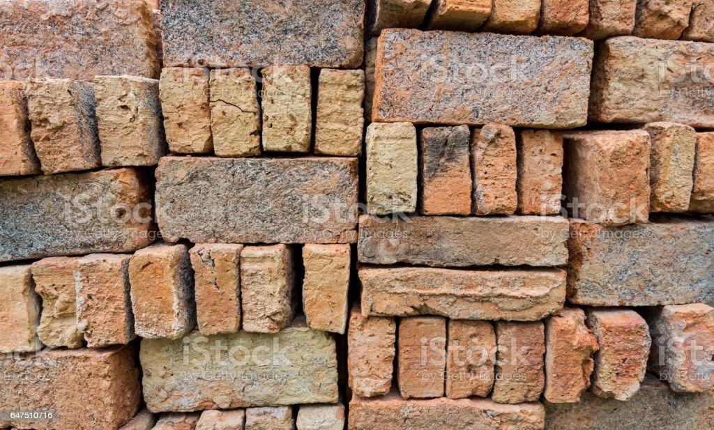 Stack of red bricks. stock photo